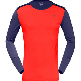Norrøna T-shirt Manches longues Col rond Laine Homme, arednalin/indigo night